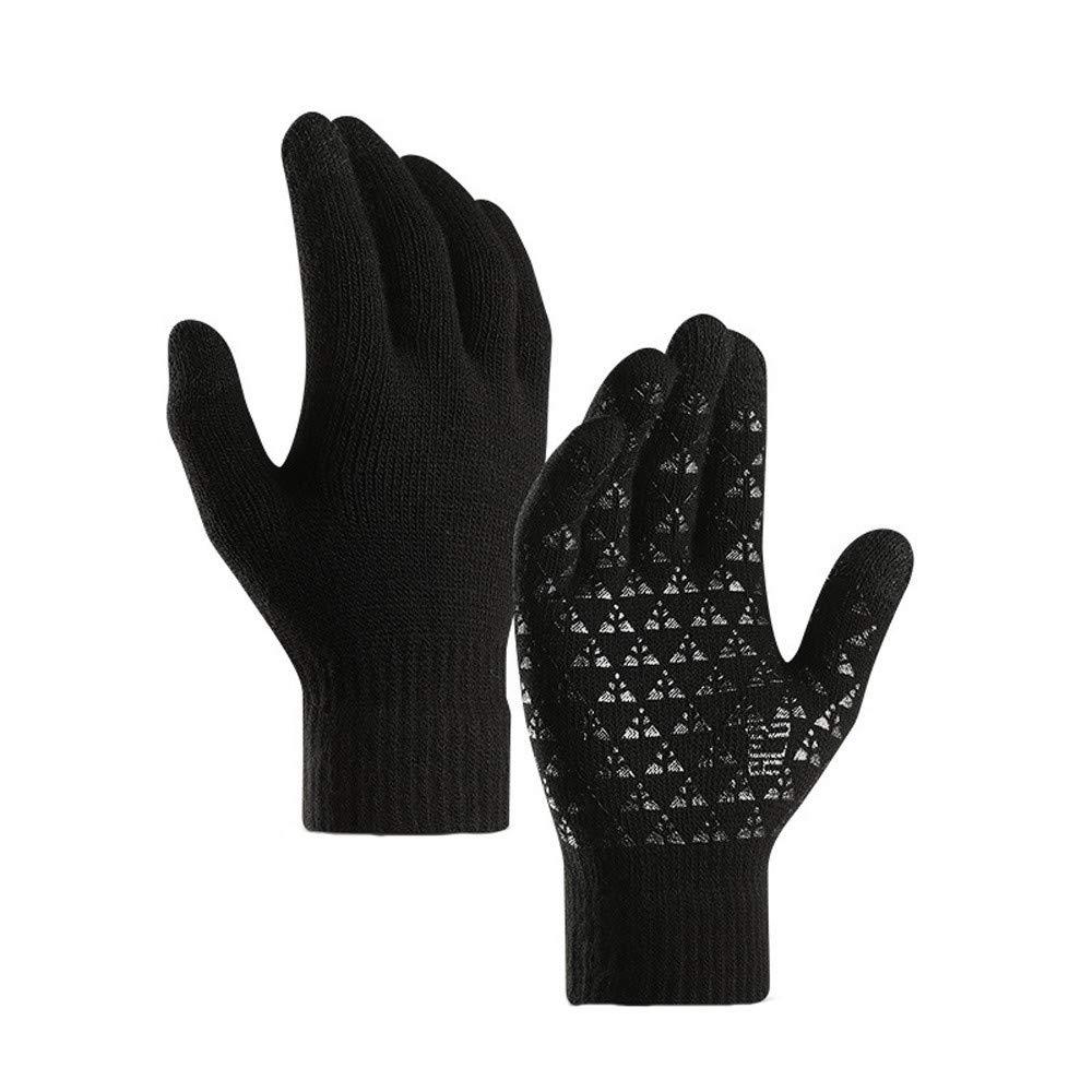 caldi guanti antiscivolo TwoCC-Guanti da uomo invernali in lana neri