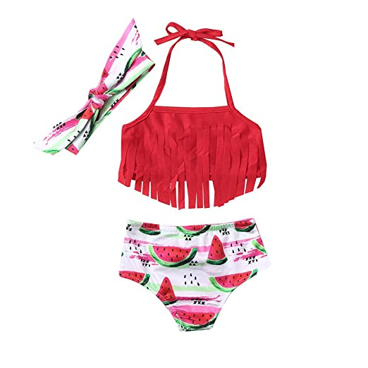 32ab16f681 3Pcs Baby Girls' Fringe Bikini Swimsuit, Cute Halter Watermelon Tops and  Bottom Two-