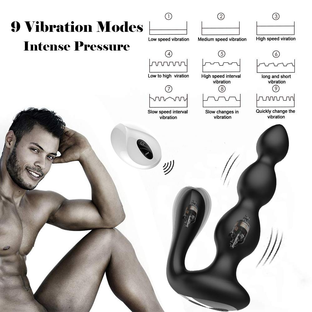 Male Prostate Massager with Testes Stimulation, 9 Speed Vibrating Anal Butt Plug Dual Motors G-spot Vibrator & Anal Stimulator Wireless Remote Anus Sex Toy for Men, Woman & Couples by Lnabni (Image #2)