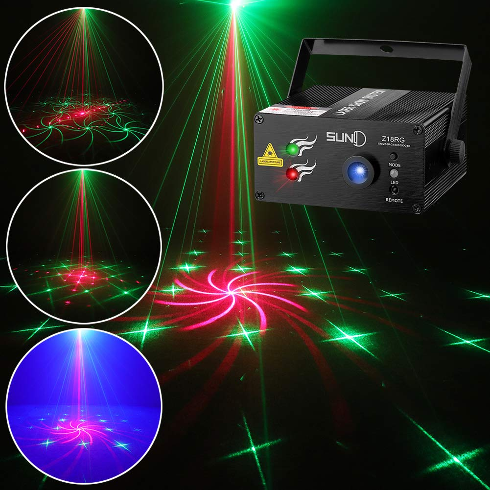 SUNY Laser Light Home Decor Red Green RG 18 Gobo Projector Stage Lighting Z18RG for DJ Show Christmas Family Party Indoor Bar Hot Mini Machine by SUNY