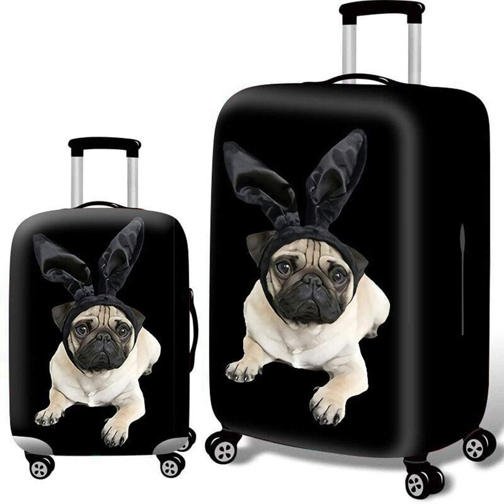 Multi Size MARXHOT Black Polyester Suitcase Dust Cover Cute Dog Print Wear-Resistant Elastic Luggage Protector with Zipper for Unisex