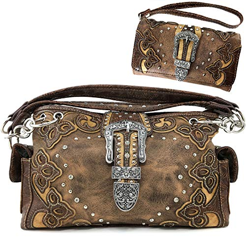 Western Tooled Leather Purse - Justin West Western Brown Purse Tooled Laser Cut Floral Design Studs Rhinestone Buckle Concealed Carry Handbag With Trifold Wristlet Cross Body Strap Wallet Set (Brown Set)