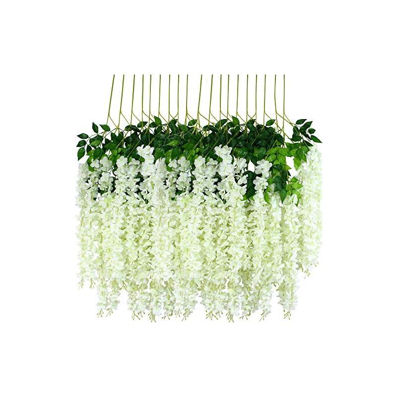 silk flower arrangements 12pcs artificial wisteria flowers 3.6 feet/piece white dense artificial fake wisteria vine ratta hanging garland silk flowers string home party wedding decor(white-dense…