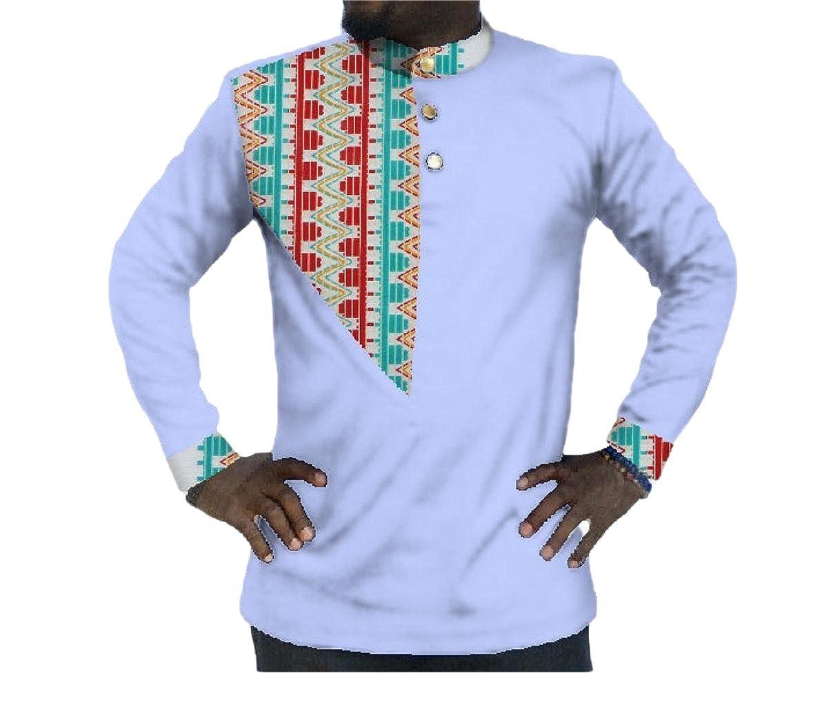 Fieer Mens Batik Comfort Tops Plus Size Dashiki African Print T-Shirts