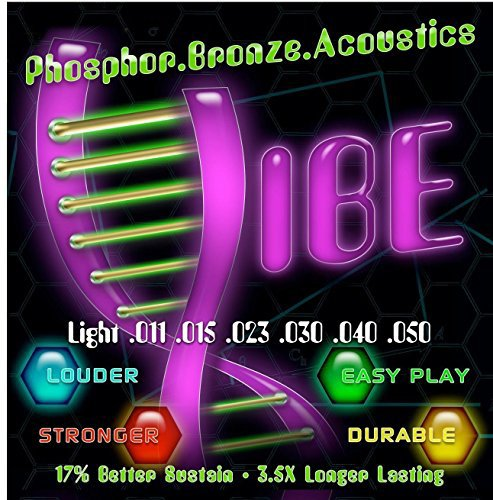 Vibe Strings Acoustic Guitar Strings, Phosphor Bronze/Steel Light Gauge 11-50, Vacuum Sealed - Comfortable Play, Lasting Sustain with Bright Clear Tone