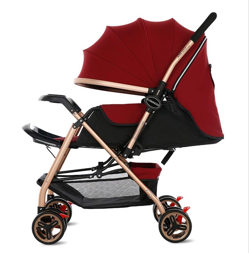 新生児の赤ちゃんキャリッジ折り畳み可能な座って、1ヶ月-5歳の赤ちゃんの2ウェイ8ホイールのためのダンピングベビーカートを横に振ることを避ける赤ちゃんトロリー目覚めを避ける (色 : 赤) B07DV6B71Z 赤 赤