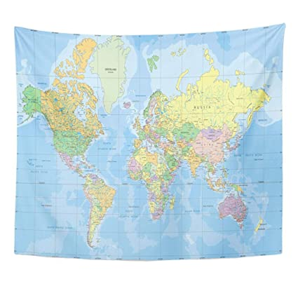 Amazon Com Tapestry Blue Africa Political World Map In Mercator