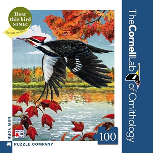 New York Puzzle Company - Cornell Lab Pileated Woodpecker Mini - 100 Piece Jigsaw Puzzle