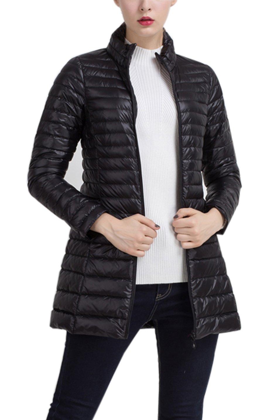 Gihuo Women's Packable Ultralight Long Puffer Jacket Coat Windbreaker (X-Large, Black)