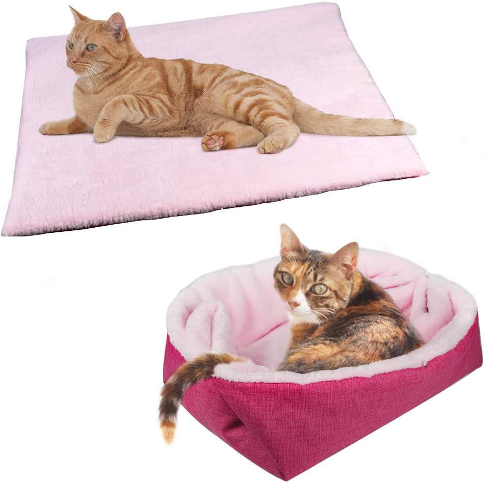 YUNNARL Furry Cat Bed/Mat (Convertible) Self-Warming Cat Mat Light Weight Fur Pet Bed for Cats, Puppy Cat Bed Mat Machine Washable Puppy Bed Best for Indoor Cats Houses, Floor, Car Back Seat Pink