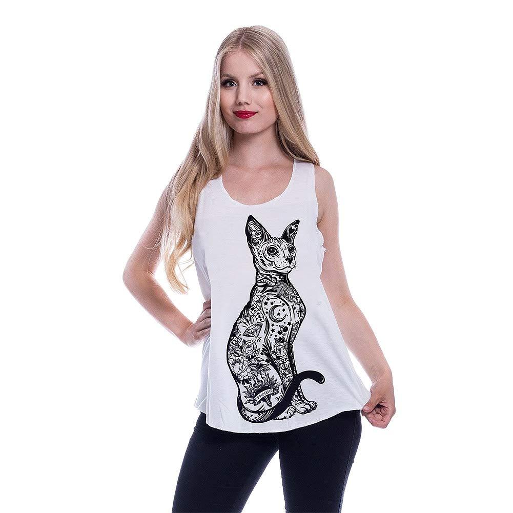 TALLA L. Innocent Top o Camiseta Sin Mangas en Blanco con Gato Esfinge Tatuado