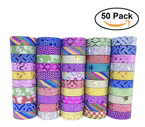 CRAFTAVO Glitter Washi Adhesive Tape Decorative DIY Set Craft 50 Rolls Colorful Pattern Collection Scrapbooking Masking Sticker Design Art Paper Decoration Gift Wrapping School Supplies Journal Frame