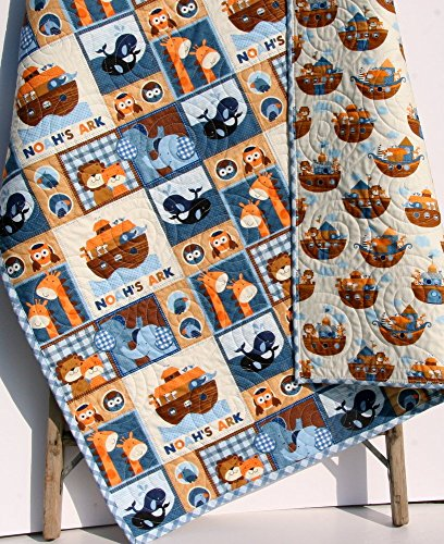 Noah's Ark Quilt Boy Nursery Biblical Christian Crib Bedding Nursery Decor Blue Brown Two by Two Animals by Sunnyside Designs