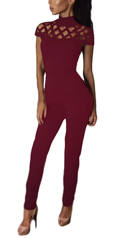 quality design 86301 28a57 Jumpsuit Damen Lang Elegant Sommer Kurzarm Hoher Kragen ...