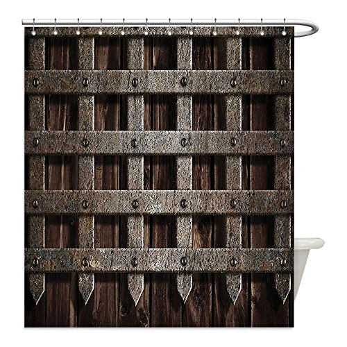 Liguo88 Custom Waterproof Bathroom Shower Curtain Polyester Medieval Decor Medieval Wooden Castle Metal Gate Greek Mid-century Design Art Print Dark Wood Decorative bathroom - Greek Warrior Costume Pattern