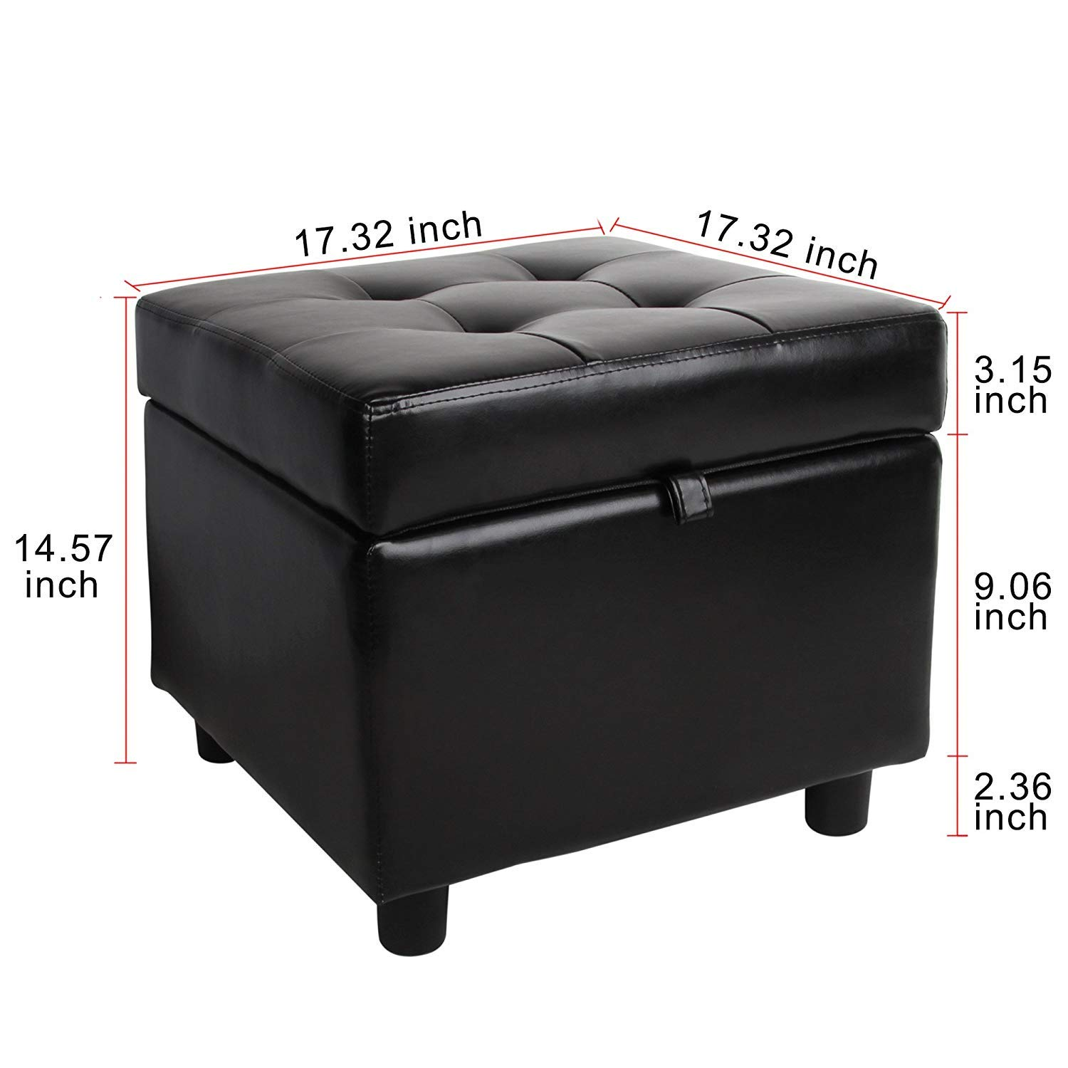 Tufted Leather Square Flip Top Storage Ottoman Cube Foot Rest, Black