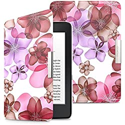 MoKo Case for Kindle Paperwhite, Premium Ultra Lightweight Shell Cover with Auto Wake / Sleep for Amazon All-New Kindle Paperwhite (Fits All 2012, 2013, 2015 and 2016 Versions), Floral PURPLE