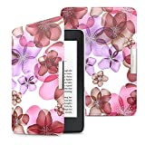 MoKo Case for Kindle Paperwhite, Premium Ultra Lightweight Shell Cover with Auto Wake/Sleep for Amazon All-New Kindle Paperwhite (Fits All 2012, 2013, 2015 and 2016 Versions), Floral PURPLE