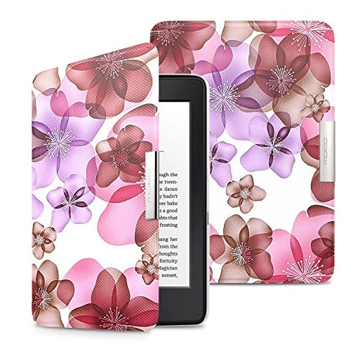 MoKo Kindle Paperwhite Case, Premium Ultra Lightweight Shell Cover with Auto Wake / Sleep for Amazon All-New Kindle Paperwhite (Fits All 2012, 2013, 2015 and 2016 Versions), Will not fit All-New Paperwhite 10th Generation 2018, Flower Purple