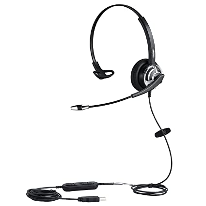 PC Chat Headphone USB Headset with Noise Cancelling Microphone for Call  Center PC Phone Mac Skype Microsoft Lync with Voice Recognition Mic for