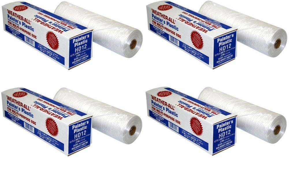 TRM Manufacturing HD12 Weatherall Painters Plastic 0.31 Mil Clear Hi Density Sheeting 1 Box of 400 Feet Long by 12 Feet Wide