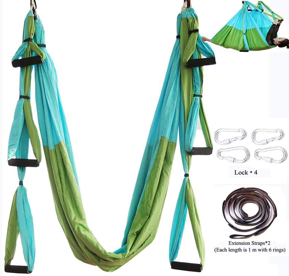 Chilly Aerial Yoga Swing Set - Yoga Hammock/Trapeze/Sling Kit + Extension Straps - Antigravity Ceiling Hanging Yoga Sling - Inversion Swing