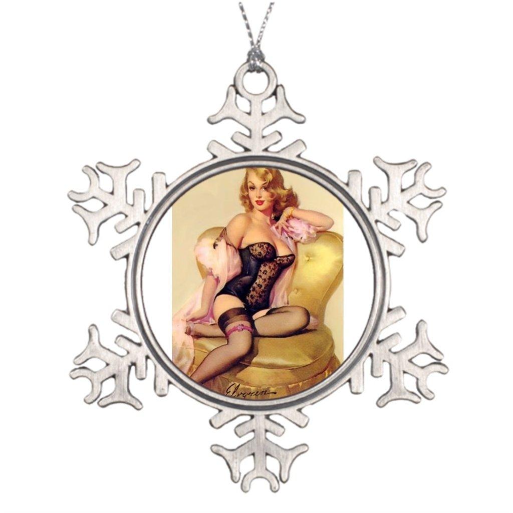 Tree Branch Decoration Vintage Pin Up Girl Xmas Tree Snowflake Ornaments