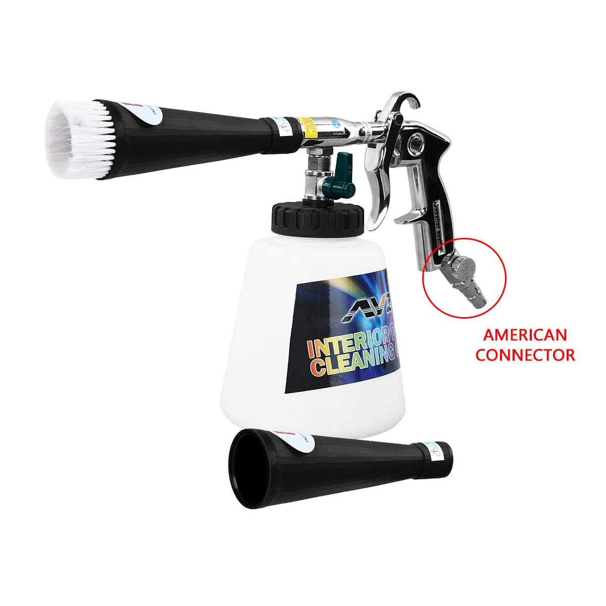 YVO Car Cleaning Gun Automotive Interior Pneumatic Clean Washing Blowing Dust Gun with 1000ml Foam Bottle Car Maintenance Tools Equipment (Upgraded Version Metal Nozzle with US Connector)