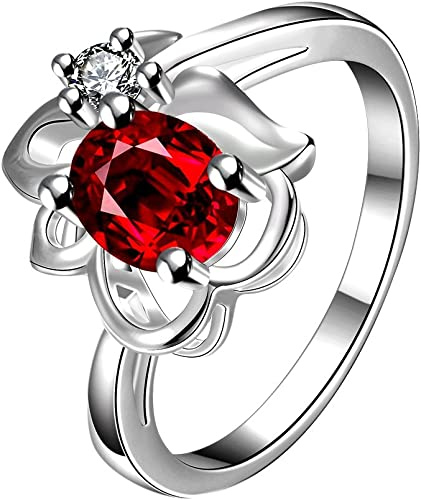 Amazon Com Luckyweng Women S Oval 4 Prong Cz Red Flower Floral