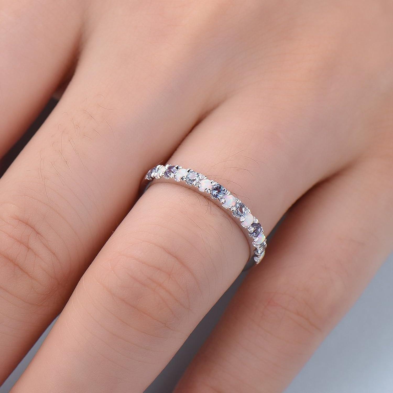 Amazon.com: Color Change Alexandrite Opal Wedding Band 925 Sterling ...