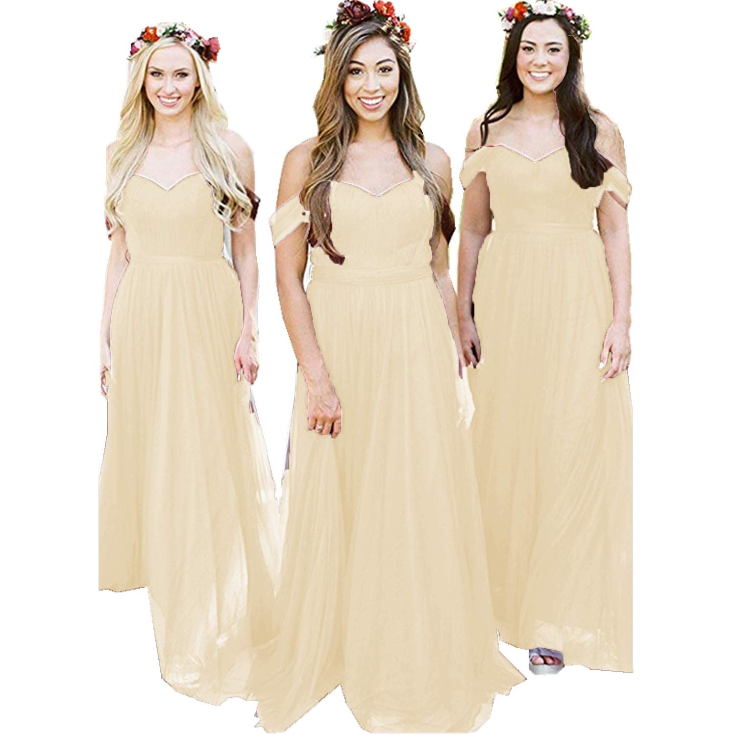 Champagne Ruiyuhong Women's Off The Shoulder Bridesmaid Dresses Long Tulle Wedding Party Gown