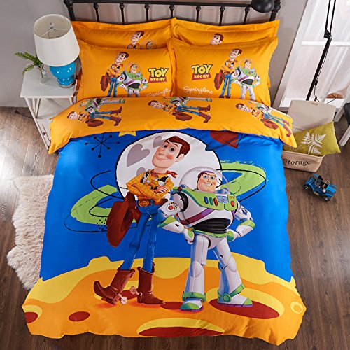 Story Toy Set Bedding (CASA 100% Cotton Kids Bedding Set Boys Toy Story Duvet cover and Pillow case and Fitted Sheet,3 Pieces,Twin,Woody and Buzz Lightyear)