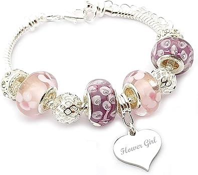Flores niña personalizable rosa y lila Charm pulsera niña de – en caja de regalo: Amazon.es: Joyería