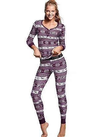 Victorias Secret, Pink Thermal Pajama 2 pc Set, Black Orchid Fairisle (Large)