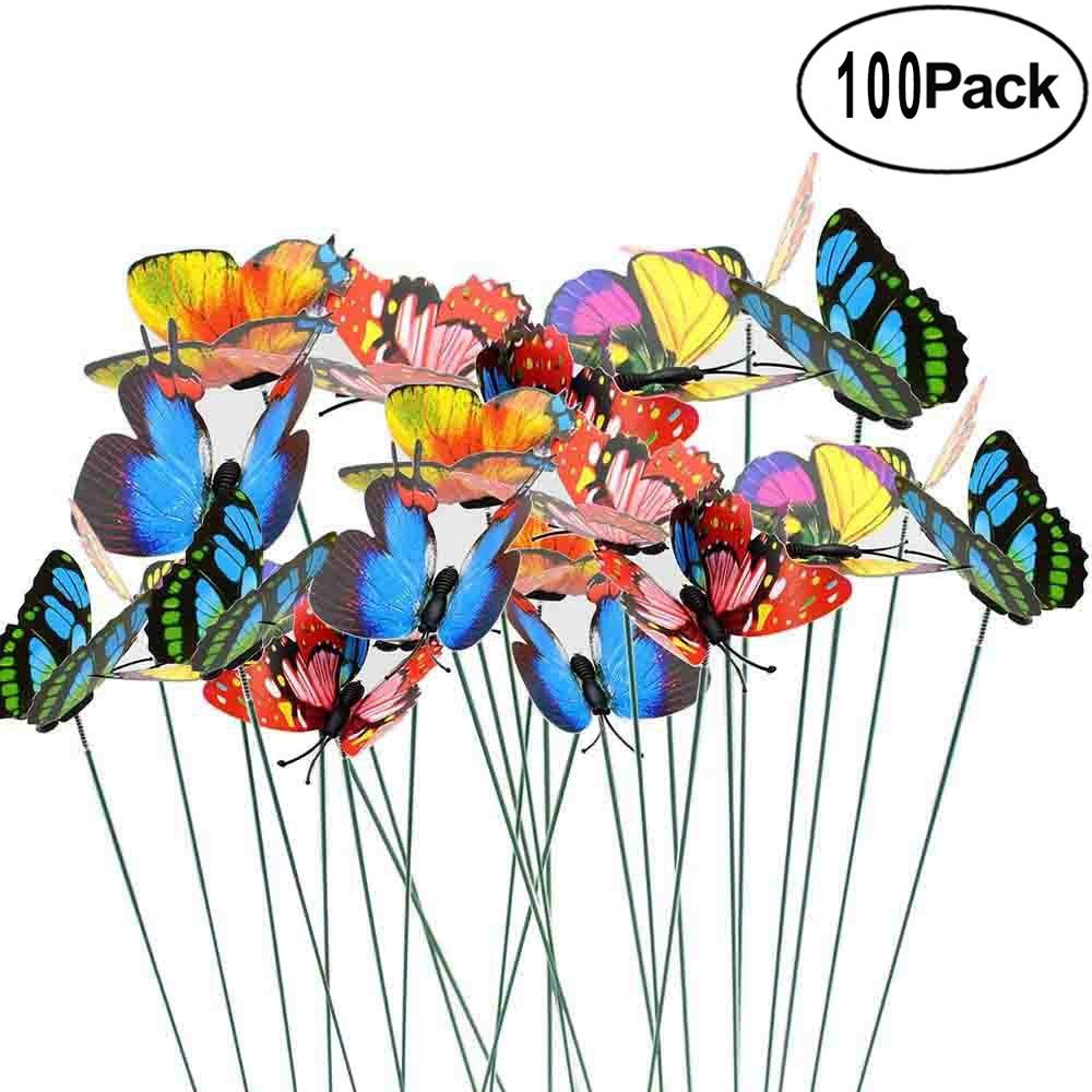 Antallcky 100pcs Butterfly Stakes Outdoor Yard Planter Flower Pot Bed Garden Decor Butterflies Christmas Decorations, Artificial Butterflies on Metal Wire Plant Stake Stems-Multicolor by Antallcky