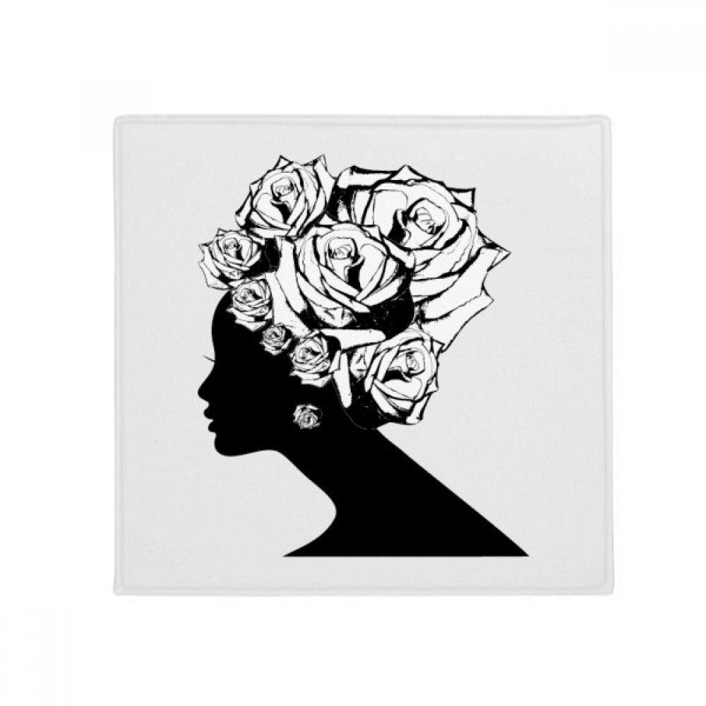 DIYthinker Woman pink Black White Flower Plant Anti-Slip Floor Pet Mat Square Home Kitchen Door 80Cm Gift