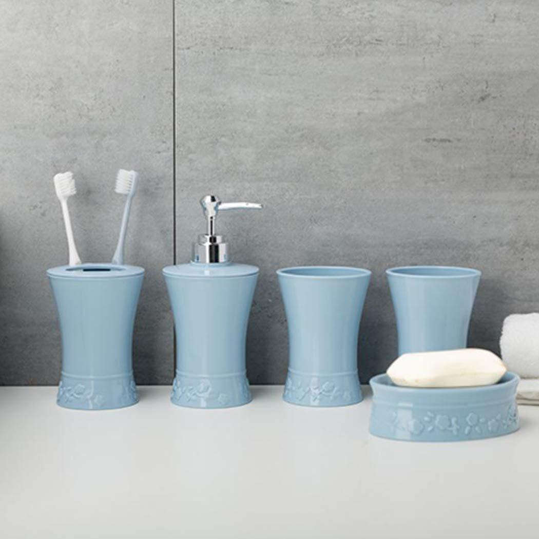 JUSTDOLIFE 5PCS Accessori da Bagno Impostato Include Dispenser Spazzolino da Denti Cremagliera Gargle Cup Scatola di Sapone