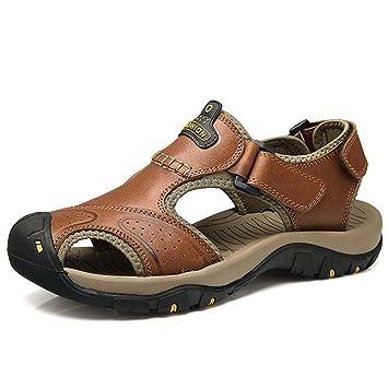 Onfly Hombres Chicos Dedo del pie cerrado Cuero Casual Sandalias Zapatillas Antideslizante Respirable Para caminar Al ...