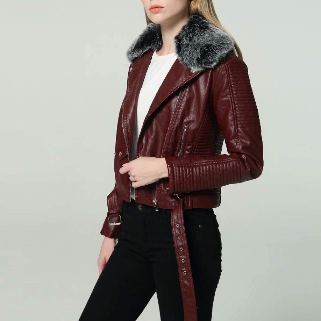 FAPIZI Womens Faux Leather Jacket Fashion Lapel Long Sleeve Zip up Belt Moto Jacket Coat Slim Outwear with Fur Collar