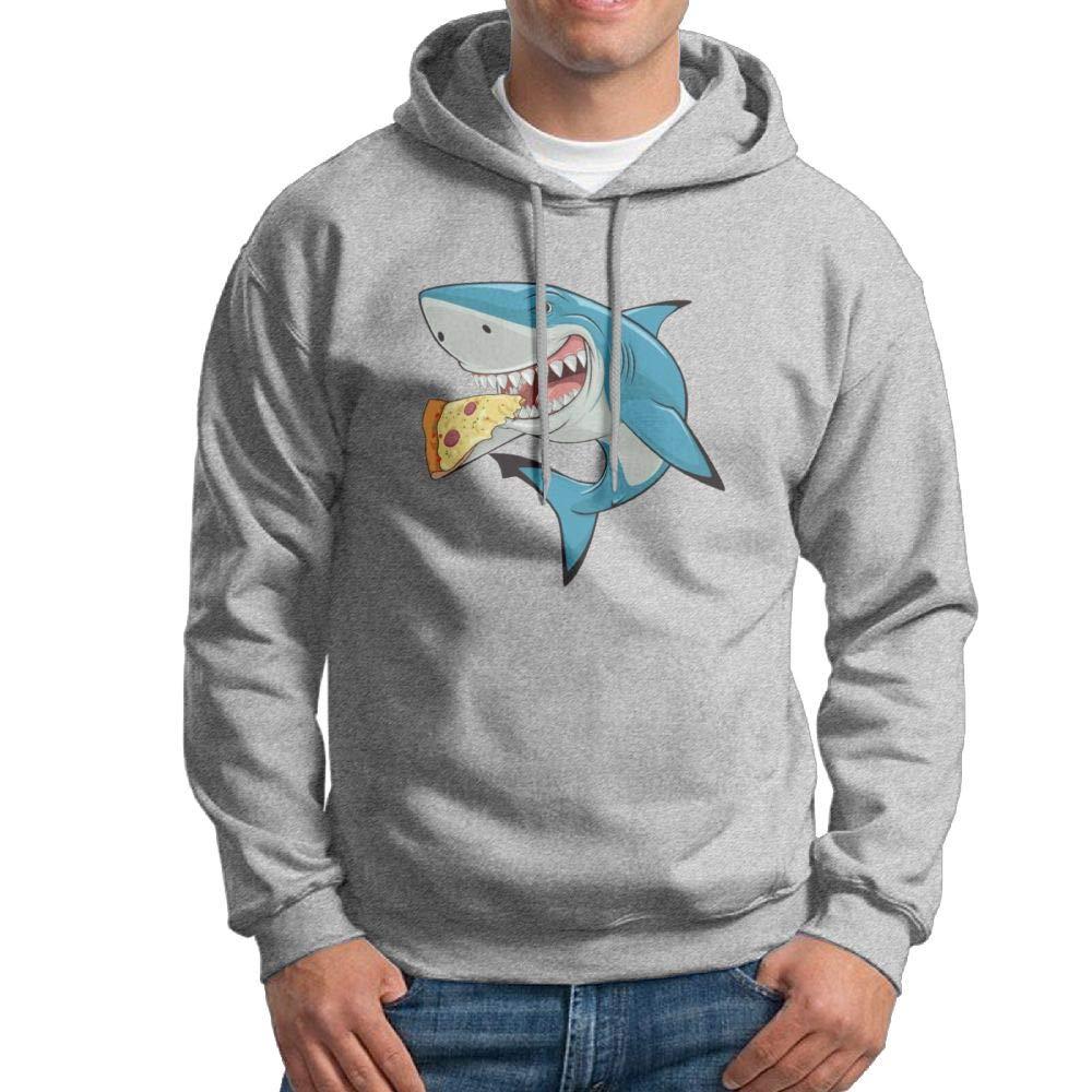 Hooded Sweatshirt Men Cool Pullover Fleece Hoodie Shark Eating Pizza