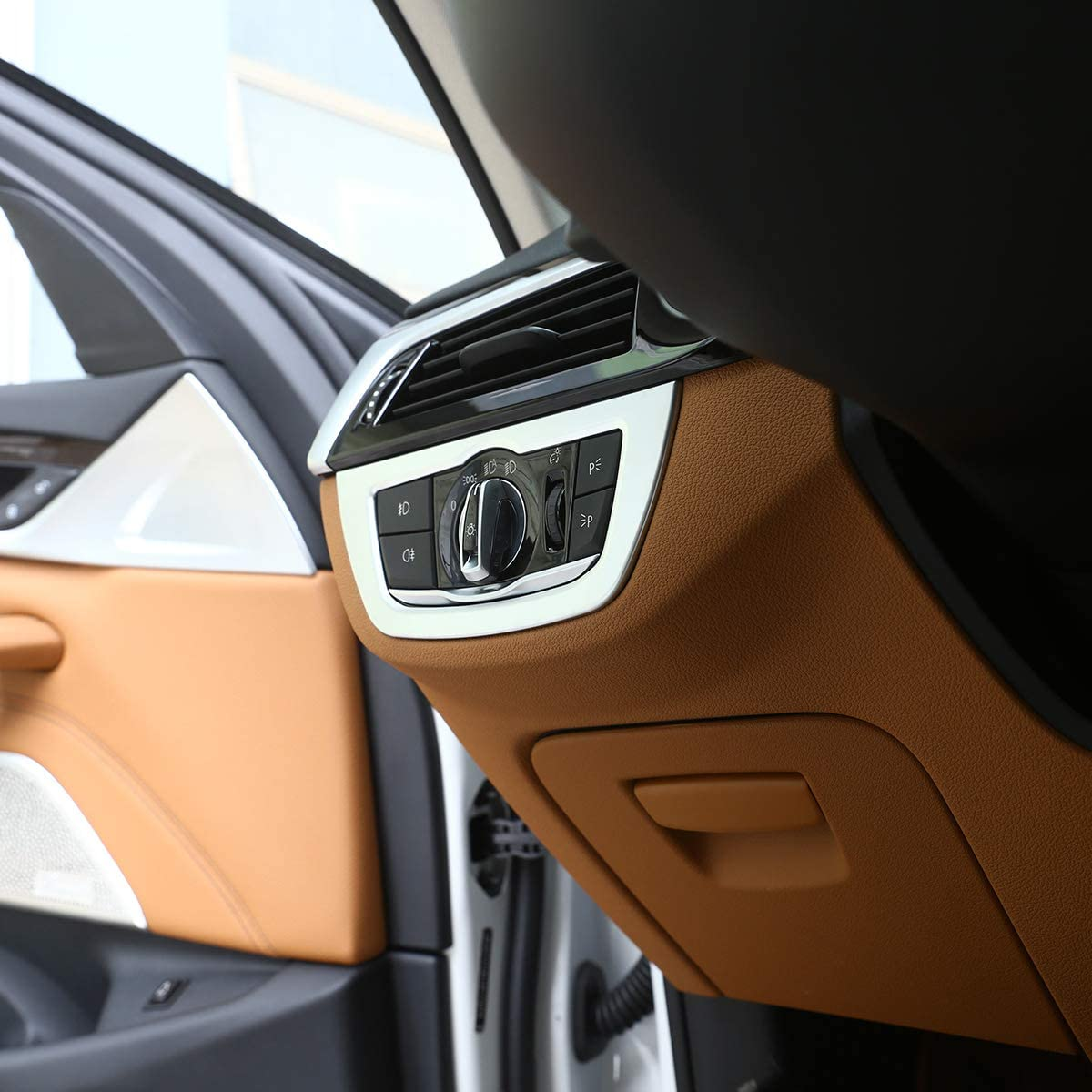 YUECHI Matte Silver ABS Chrome for BMW 5 Series G30 G31 2018 2019 Car Interior Headlight Frame Trim Accessories