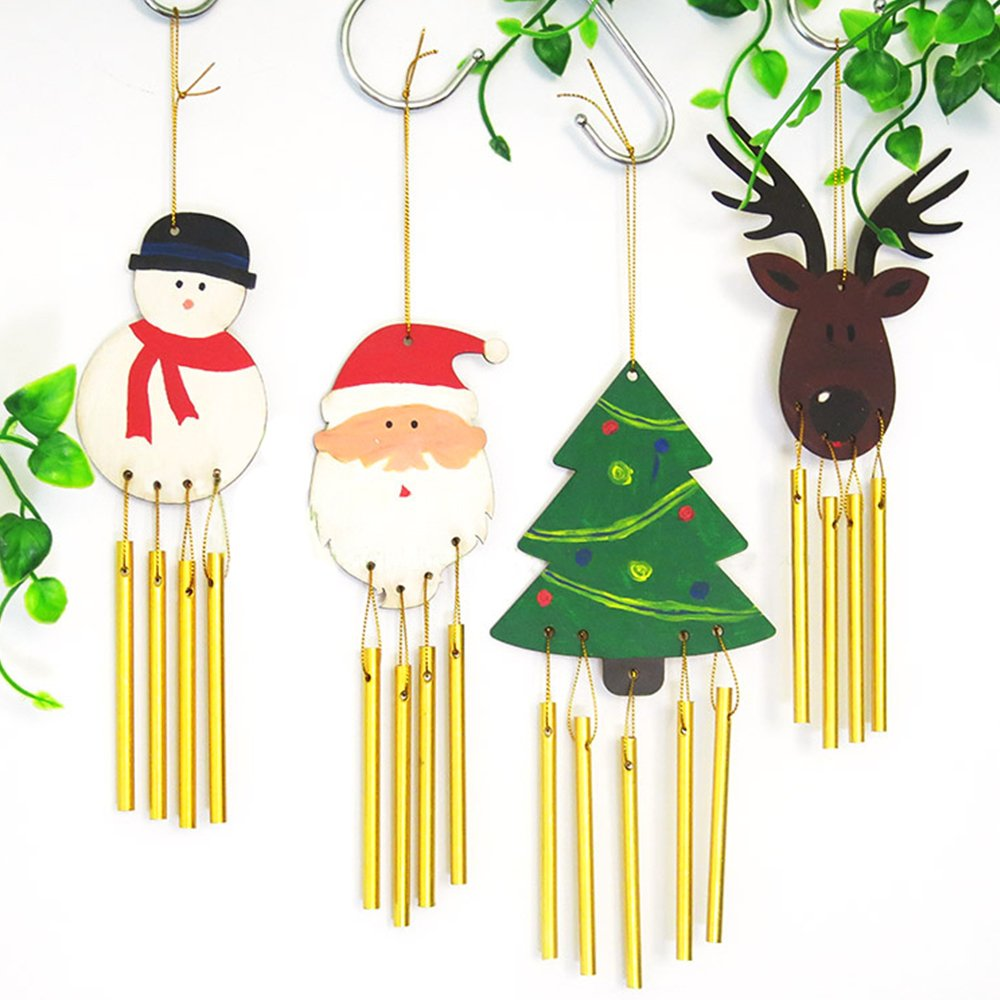 4 DIY Paint Your Own Wooden Wind Chime Wood Windchime Garden Ornament Xmas Decor AHG