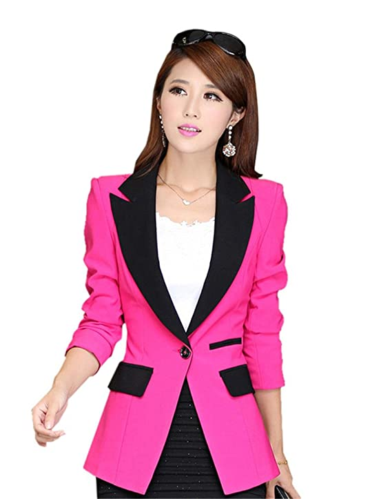 My Wonderful World Women's Juniors Business Blazer Suit Color Block Lapel One Button Jacket Blue tag Asian XL