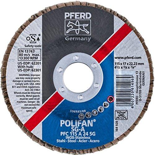 (PFERD Polifan SG Abrasive Flap Disc, Type 29, Round Hole, Phenolic Resin Backing, Aluminum Oxide, 7