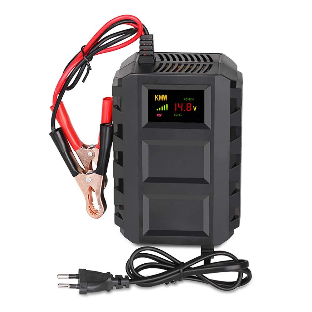 12 V pantalla LCD 20 A tensi/ón 110~240 V Cargador de bater/ía para moto de coche con tecnolog/ía de reparaci/ón por impulso capacidad 10 AH-250 Ah