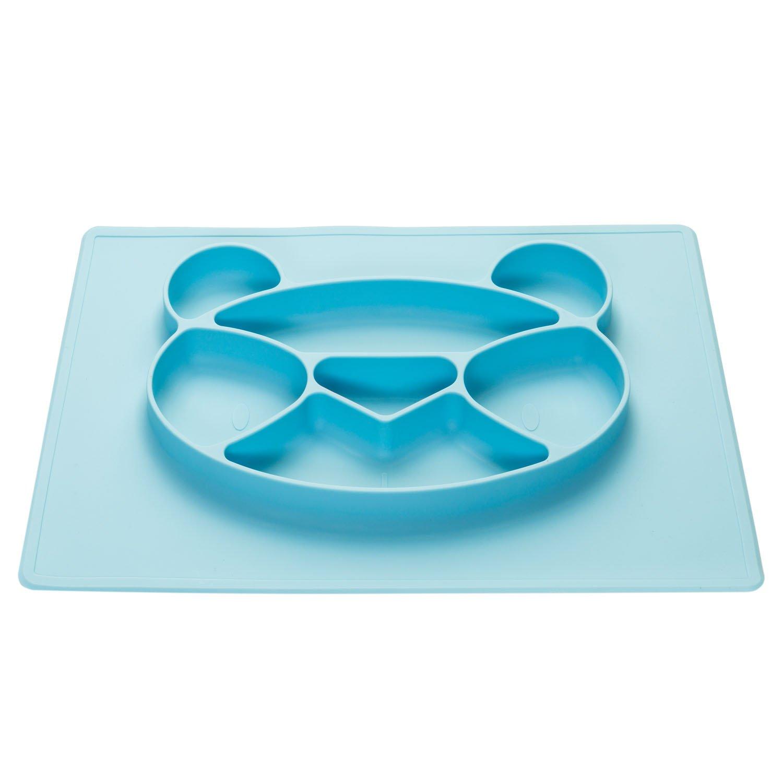 bleu Assiette en silicone pour enfants Set de table de table avec tapis antid/érapant pour b/éb/é ; Panda