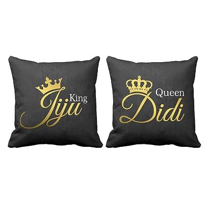 Buy Yaya Cafe King Jiju Queen Didi Printed Cushion Cover 16x16