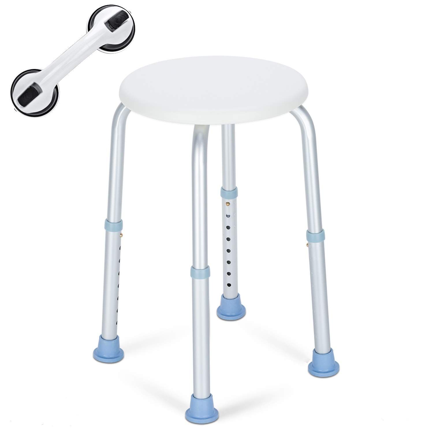OasisSpace Shower Stool, Heavy Duty Adjustable Bath Chair with Free Grab Bar, Medical Tool Free Anti-Slip Bathtub Seat Bench Lightweight and Durable for Elderly, Senior, Handicap, Disabled Round by OasisSpace (Image #1)