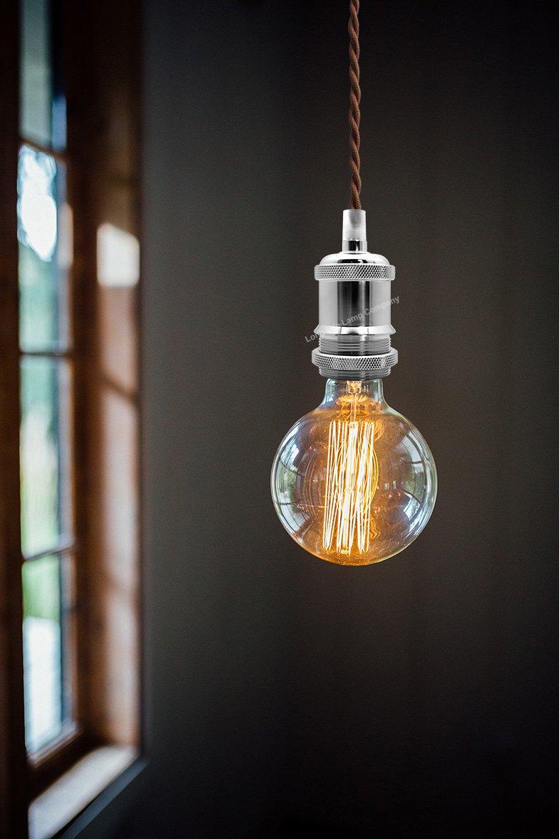 Ceiling Rose Amp Pendant Fabric Flex Chrome Hanging E27 Lamp Holder Kit M0011 5055875572997 Ebay
