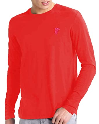 a2bb139f Versace Collection Long Sleeve Cotton Tee with Medusa Patch Embroidered  Emblem, Red (L)